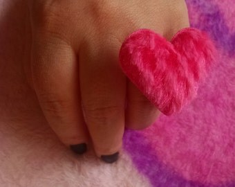 Fuzzy pink heart ring