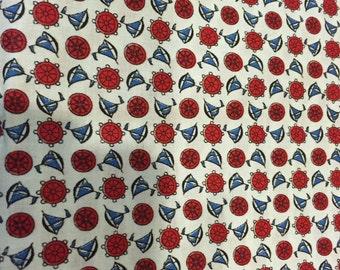 Vintage cotton nautical fabric 13/4 yards