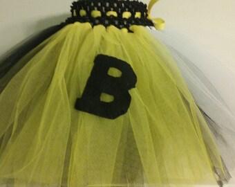 Black & Yellow/ White Sports Team   10 Inch Tutu Ready To Ship