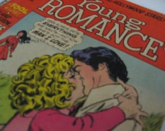 Vintage DC comics Young Romance January 1972 teen romance comic. Drama! Kissing! Crying! Yearning!