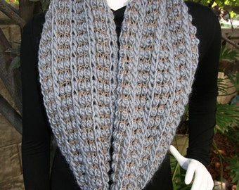 Scarf Infinity Gray Tan Textured Loopy Machine Knit Scarf Super Soft Warm and Lightweight