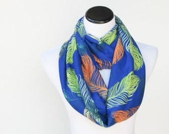 Infinity scarf royal blue feather print scarf soft jersey knit loop scarf feminine circle scarf gift for mom and girl