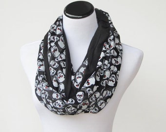 Halloween skulls infinity scarf black and white sparkle gothic reversible LONG and WIDE jersey knit scarf gift idea for Gothic girl