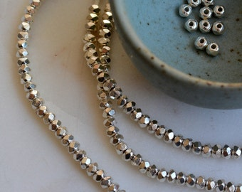 Karen Hill Tribe Silver Beads, Faceted Rondelle Spacer Beads,Hill Tribe Beads,Thai Beads,Sterling Silver Beads, One Strand, 323 Beads,AL15-8