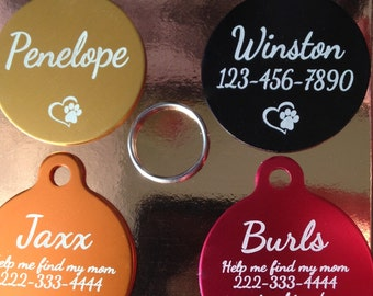 Pet Tags Pet Supplies Quality Custom Engraved CIRCLE Pet ID Tag Rescue Animal Shelter Dog, Cat. (**Buy 3 Get 1 free!!**)