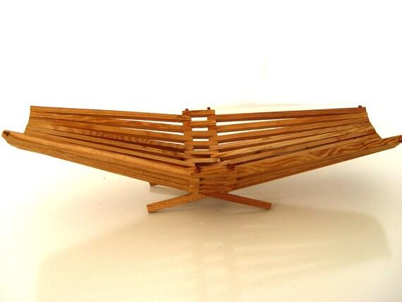 Art Deco Log Basket : Art deco fruits basket vintage wooden