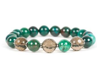 Chrysocolla Gemstone Bracelet, Smoky Quartz Bracelet, Stress Management Bracelet, Gemstone Bracelet, Handmade Jewelry, Gemstone Jewelry
