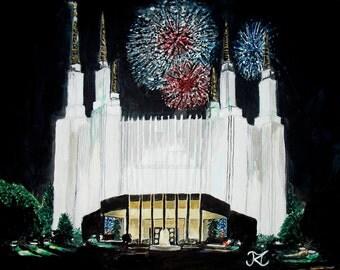 Washington DC LDS Temple (digital download of original artwork by Bekalyn Craig