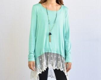 Asymmetrical Lace Layered Tunic