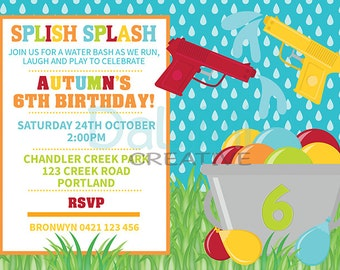 Water Gun Birthday Invitation - Water Party Invitation - Squirt Gun Party - Water Balloon Birthday - Water Bash - Outdoor Party - Summer Fun