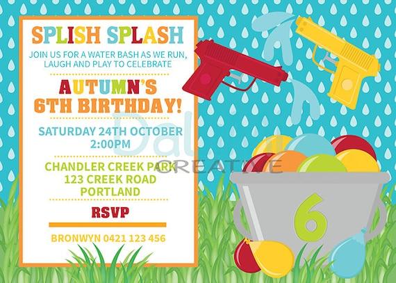 Items similar to Water Gun Birthday Invitation - Water Party ...