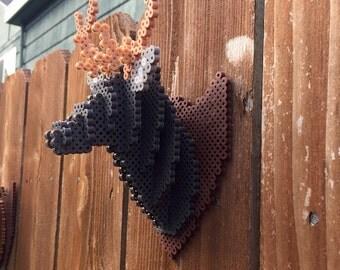 Mounted 3d deer head made of perler beads
