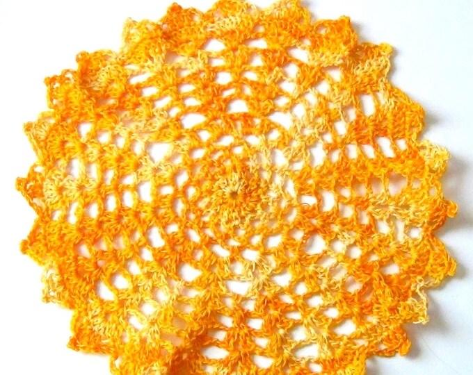 Handmade Doily, Yellow Crochet Doily, Summery Gold Yellow Thread Decor - Gift Idea