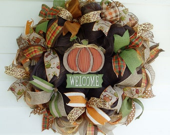 Autumn Wreath, Fall Wreath, Pumpkin Wreath, Fall Deco Mesh Wreath