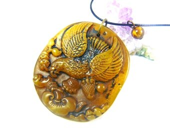 Ancient jade pendant eagle tiger eye