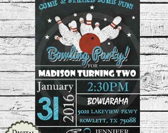 Bowling chalkboard birthday party invitation printables