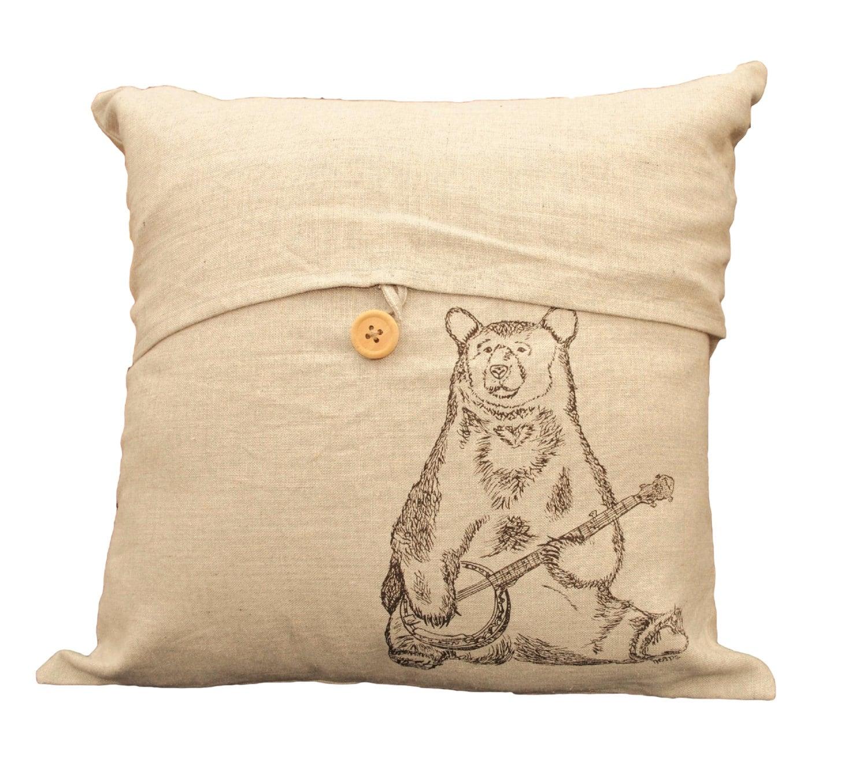 Bear Throw Pillow Covers : Banjo Bear Linen Blend Throw Pillow Cover Hand Screen