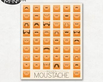 50 CLASSIC MOUSTACHES Fine Art Photographic Print, Educational Chart