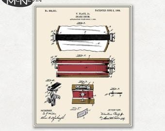 SNARE DRUM Patent, Vintage Fine Art Print Poster, Colour, Blueprint, or Black and White