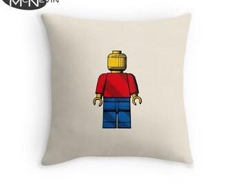 LEGO MAN Toy Figure Throw Pillow, Home Decor Geek Art