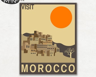 MOROCCO, AFRICAN Travel Poster, Retro Pop Art