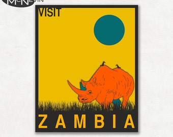 ZAMBIA, AFRICAN Travel Poster, Retro Pop Art