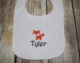 Personalized Foxl Baby Bib, Monogrammed Fox Baby Bib, Fox Baby Bib