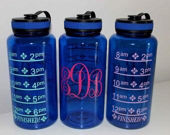 Monogrammed 34oz Water Bottle, Wide Mouth Bottle, Water Intake Bottle, Water Level Bottle