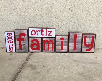 Family blocks - est. year, last name, FAMILY- wood and red themed