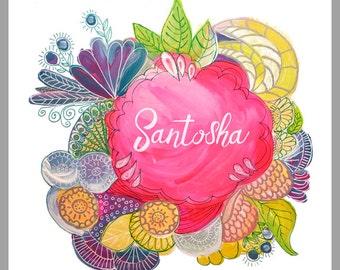 Santosha - affirmation art printable