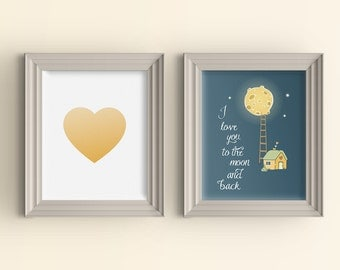 Gradient Heart & I love you to the moon and back quote art print set Nursery Playroom Baby Shower Gift Room Wall Art Poster Custom color