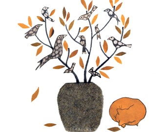 AUTUMN LEAVES. A ginger cat is curled up asleep by a vase of Autumnal twigs and spotted birds. Printed card from an original collage.