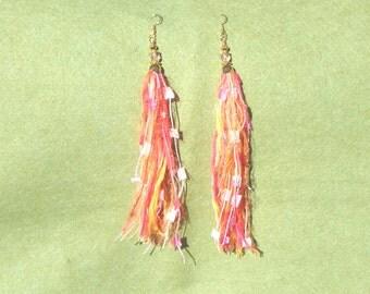 Shoulder dusters, bead and fiber earrings, tassel earrings, fringe earrings, bead and textile earrings, boho, hippie, folk, artisan, ethnic
