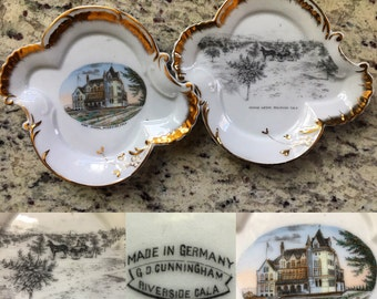 Set of 2 porcelain victorian adverting / souvenir plates from Riverside, California featuring views of the High School and the Orange Groves