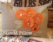 BLooM PILLOW // THROW Pillow // Decorative Pillow // Pillow Cover // Ready to Ship // FLORAL Pillow // Flower Pillow // Handmade