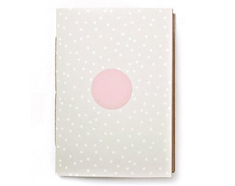 Notebook DIN A5 beige with white dots, holds