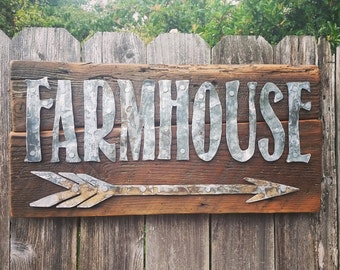 Metal Farmhouse + Arrow Sign