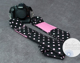 Creative DSLR Camera Strap: Quick Release & Pockets {Pink and silver polkadots on black}