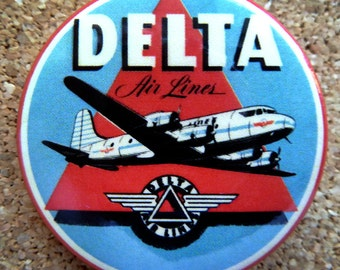 1955 Delta Airlines Design Button Pin Back Modernist Mid-Century Deco #28