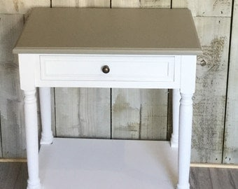 White with grey top , wooden side table