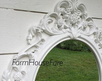 Wall Mirror, Shabby Chic Mirror Baroque Ornate Oval Wall Mirror White Hollywood Regency Wedding Photo Prop