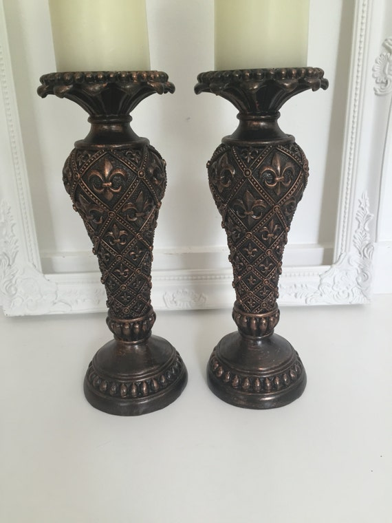 Black candle holders wedding table centerpiece antique mantle for Mantle holders