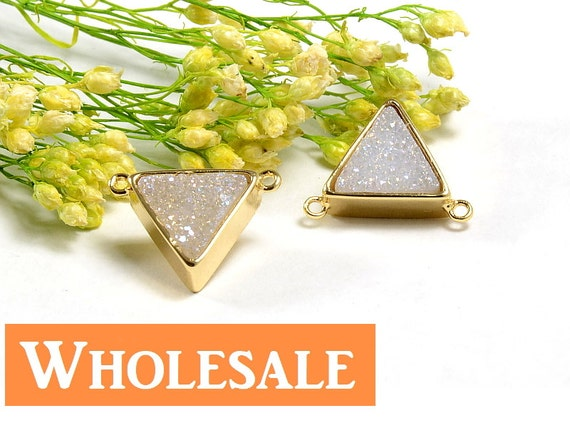 Triangle Druzy WHOLESALE in AB color, AB Druzy Connector, Natural Titanium Agate Drusy Gemstone Jewelry  - 5 pcs/ pkg