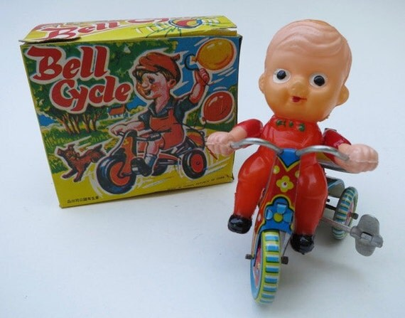 Vintage 1960's Bell Cycle Wind Up Tin Toy