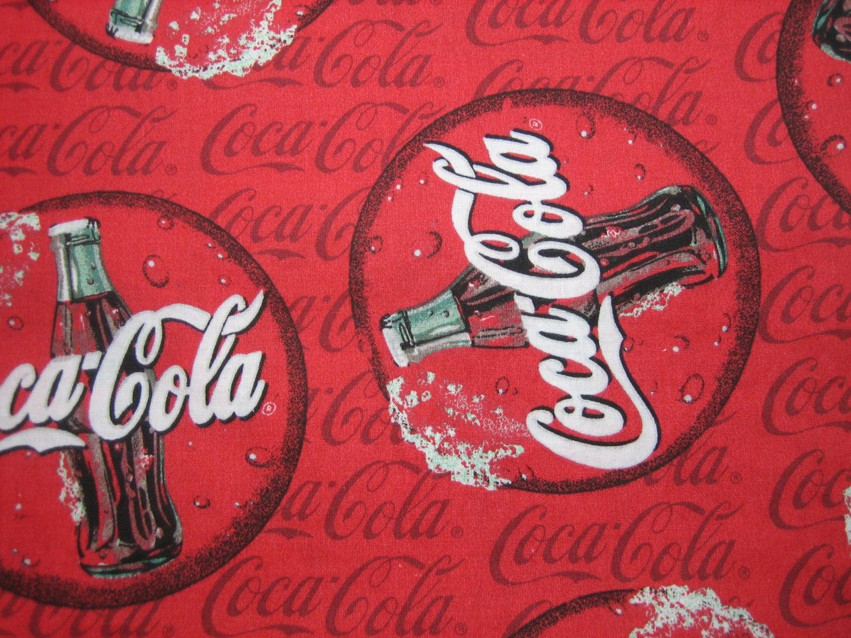 Vintage Coca Cola Logo Fabric By Spectrix Red Cotton Quilt