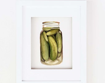 Matted 11x14 Watercolor Pickle Print