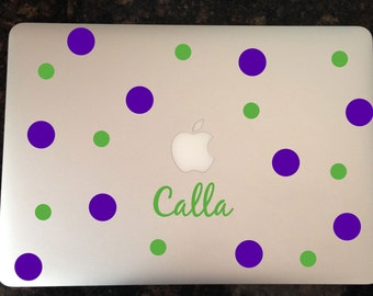 Name and Polkadots Decal for Macbook, macbook air decal, vinyl monogram, laptop decal