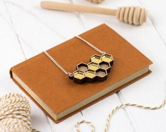 Laser Cut Geometric Gold Mirror Honeycomb Necklace