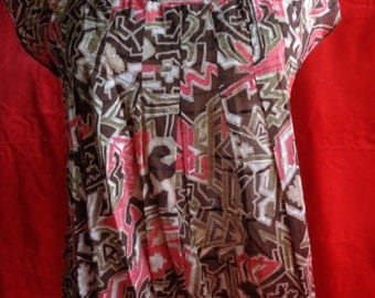 Vintage blouse top pink brown cotton