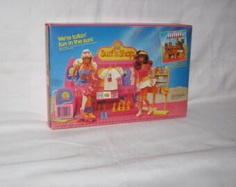 vintage 1987 mattel california barbie surf n shop playset